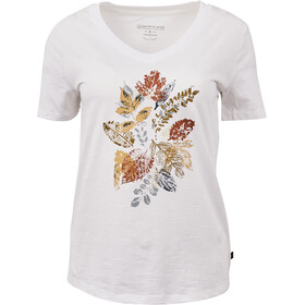 United By Blue Loose Leaf SS Graphic V-Neck Tee Dame White